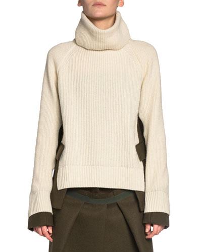 Blazer-Side Ribbed Turtleneck Sweater