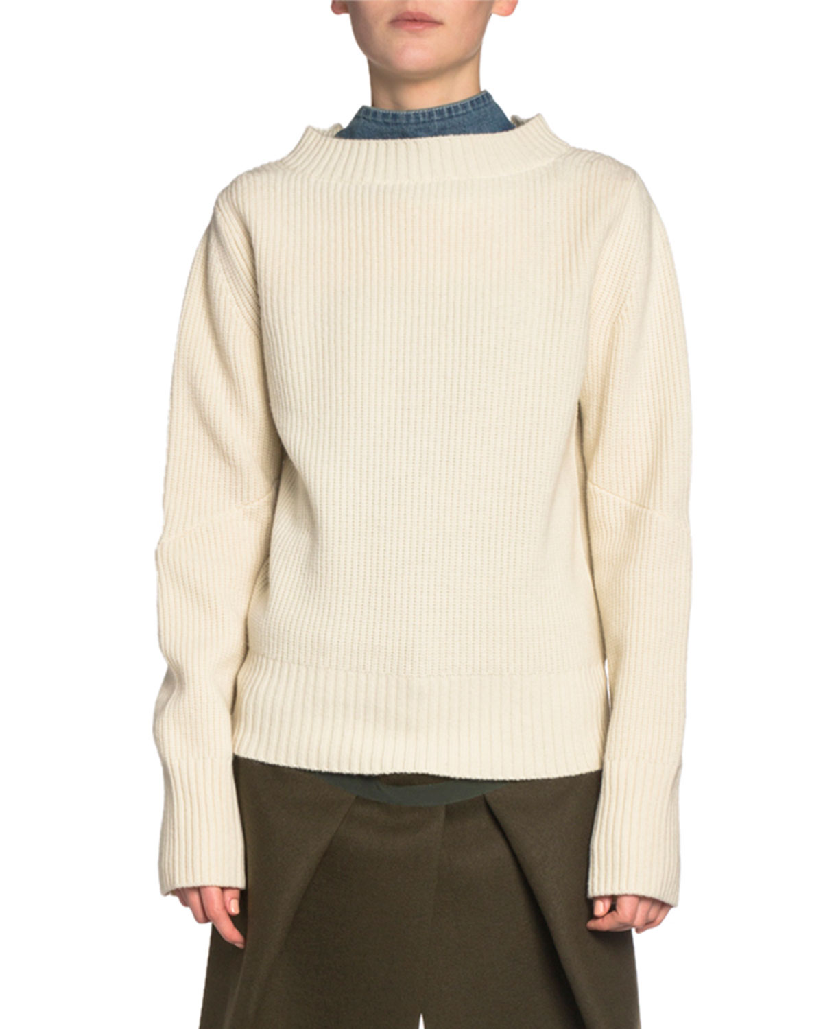 Sacai Knits DENIM-BACK RIBBED-KNIT MOCK-NECK SWEATER