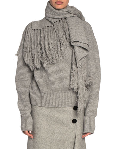 Draped Scarf-Neck Wool Turtleneck Sweater