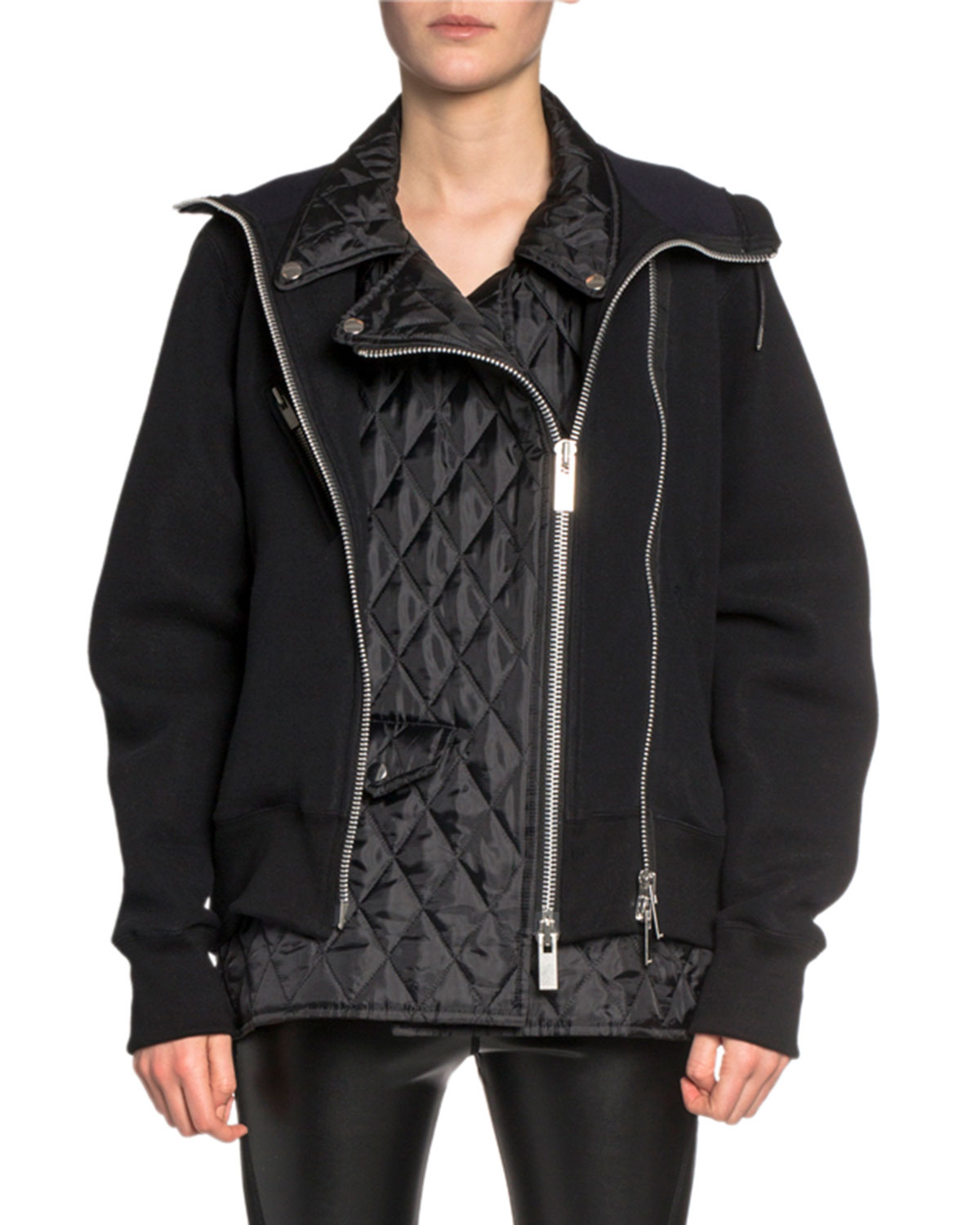 Sacai T-shirts MOTO-STYLE QUILTED-FRONT HOODIE SWEATSHIRT