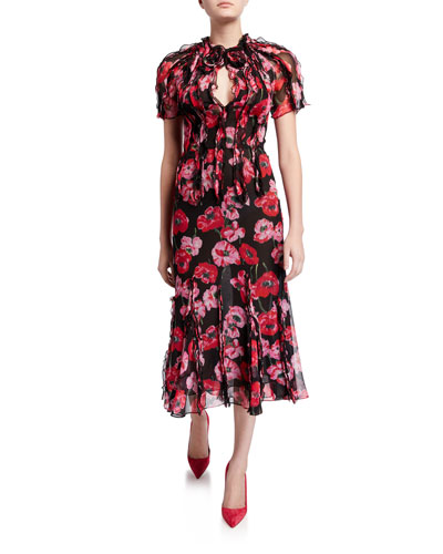 Ruffled Floral-Print Crinkled Chiffon Dress