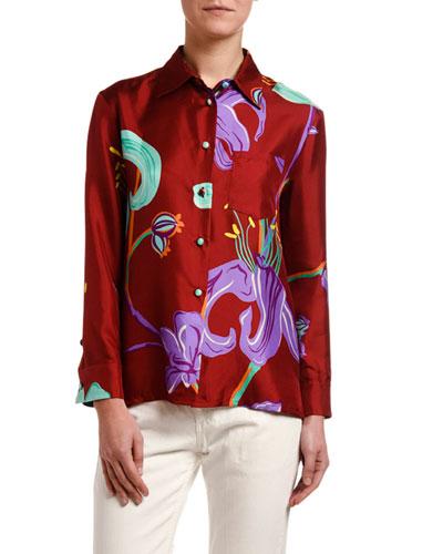Lily Print Boy Shirt