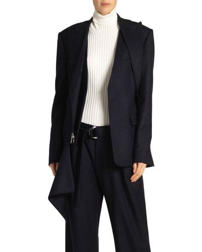 Draped Flannel Blazer, Blue/Black