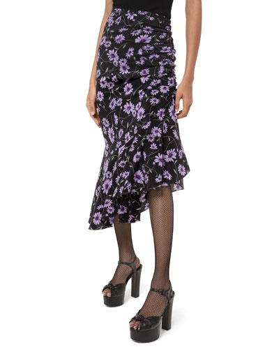 Scattered Daisy Crepe de Chine Gathered Skirt