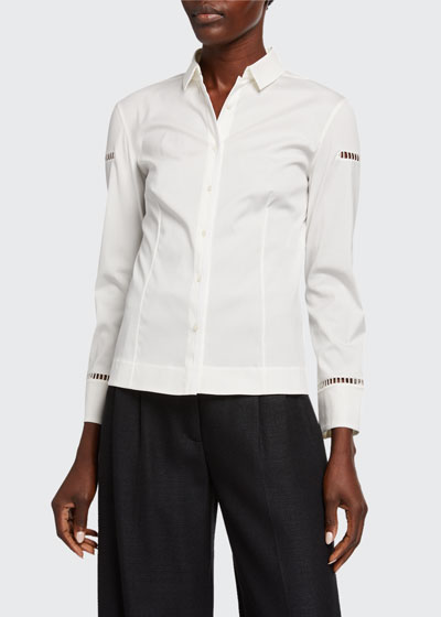 Ladder-Inset Poplin Shirt
