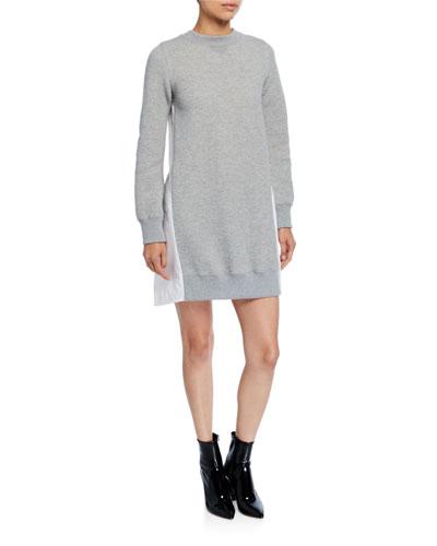 Sweater Dress w/ Poplin Back