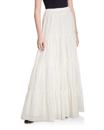 Mariela Wool-Cashmere Tiered Maxi Skirt