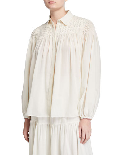 Carmen Smocked-Yoke Peasant Blouse