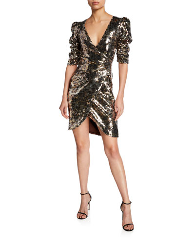 Leopard-Print Sequined Ruched Half-Sleeve Cocktail Dress