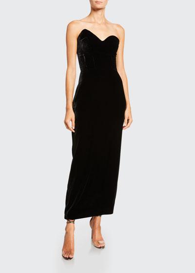 Velvet Asymmetric Strapless Gown