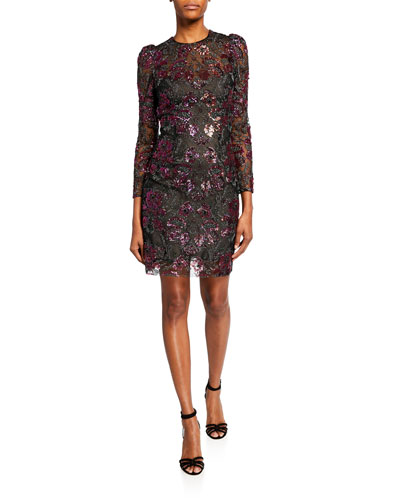 Floral Sequin-Embroidered Long-Sleeve Dress