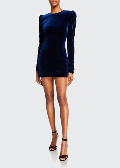 Velour Puff-Shoulder Mini Cocktail Dress