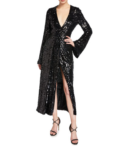 Sequined Wrapped V-Neck Dress