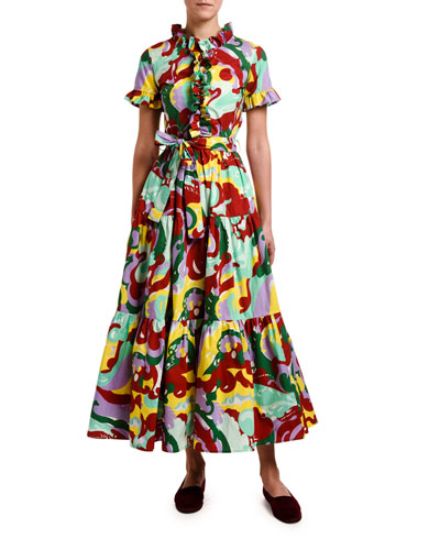 Abstract Floral Short-Sleeve Shirtdress
