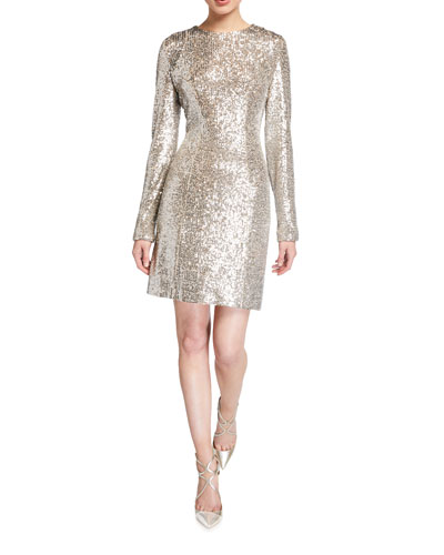 Long-Sleeve Sequined Bodycon Mini Dress