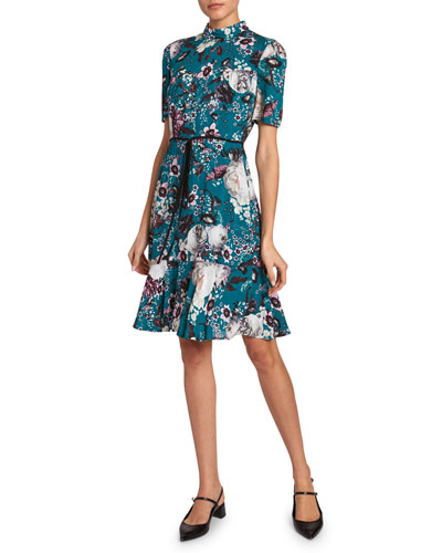 Anne Floral Print 1/2-Sleeve Dress