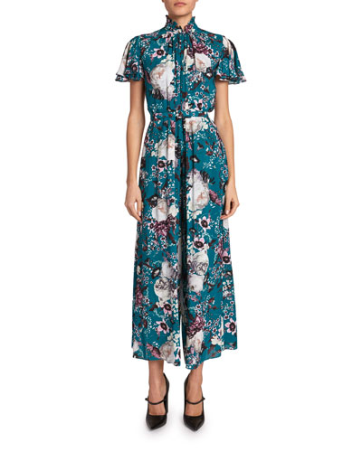 Ellamay Floral Cap-Sleeve Wide-Leg Jumpsuit