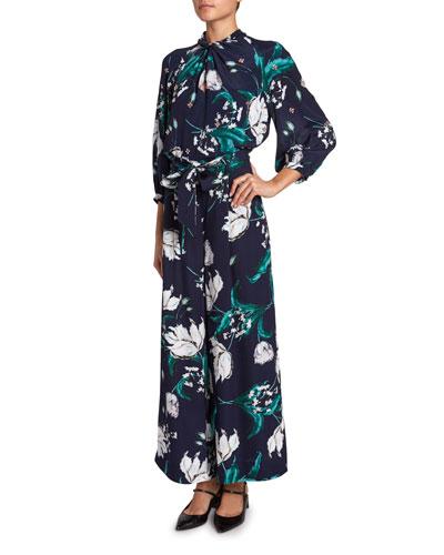 Arlette 3/4-Sleeve Floral Twist Top