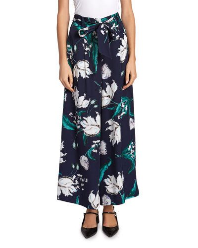 Everett Floral Wide-Leg Cropped Trousers