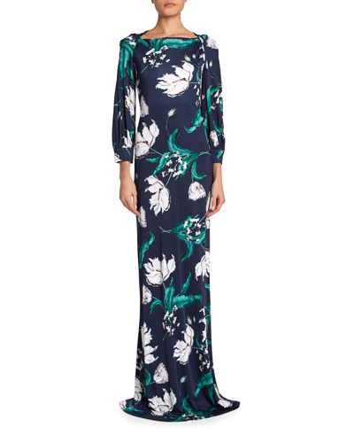 Etheline Floral Twisted-Silk Jersey Gown