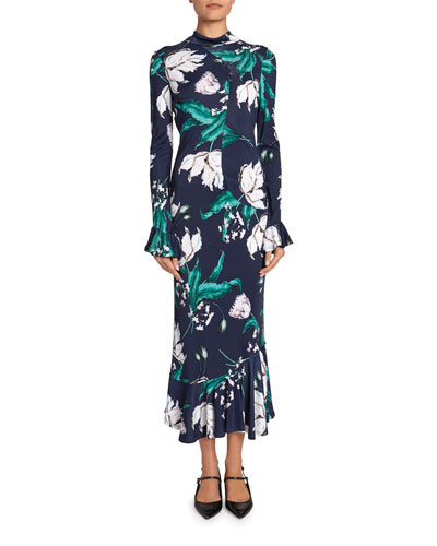 Alta Floral Bell-Sleeve Flounce-Hem Midi Dress