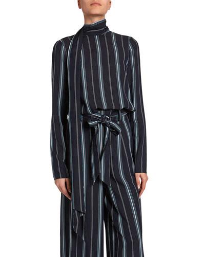 Yvonna Striped Sash-Neck Top
