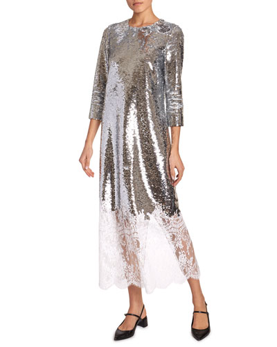 Evanna 3/4-Sleeve Sequined Lace-Hem Dress