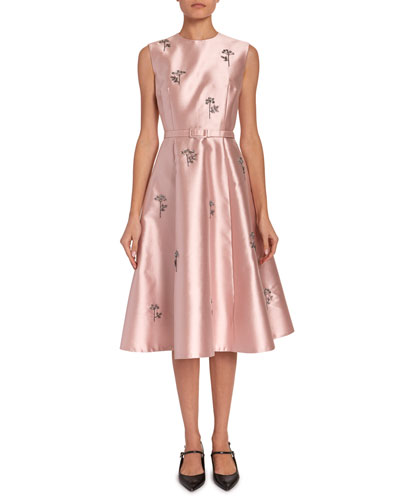 Farrah Beaded Mikado Belted Midi Dress
