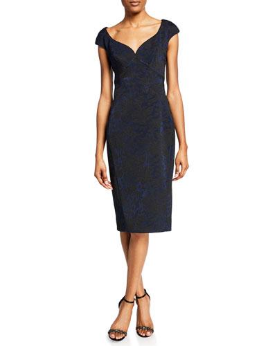 Metallic Brocade Cap-Sleeve Cocktail Dress