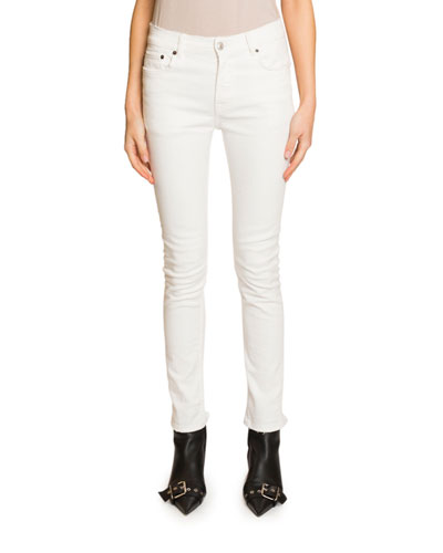 Mid-Rise Skinny Jeans, White