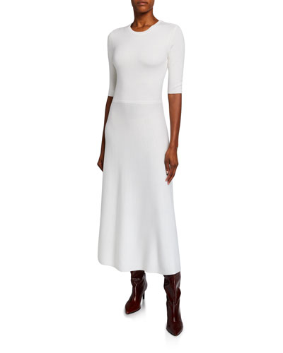Seymore Wool-Cashmere 1/2-Sleeve Dress