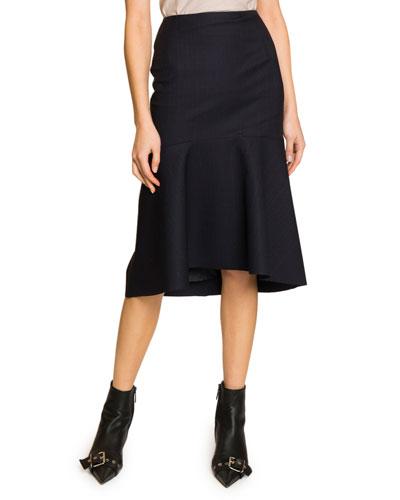 Pinstriped Twill Flounce Skirt