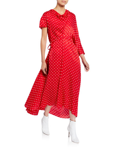 Asymmetric Polka-Dot Jacquard Dress