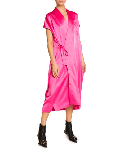 Satin Wrap-Front Dress