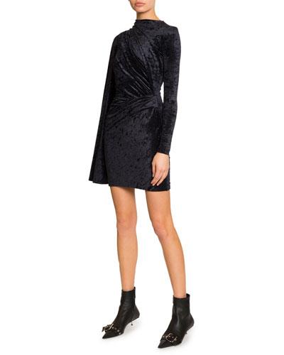 Velvet Jersey Crewneck Asymmetric Dress