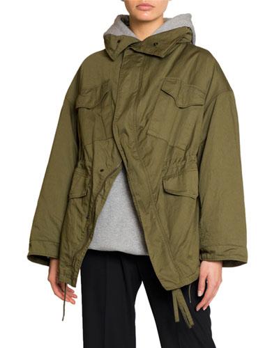 Military-Style Oversized Swing Jacket
