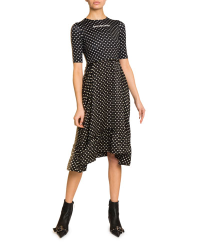 Polka-Dot Logo Graphic Midi Dress
