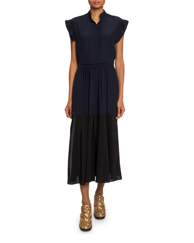 Mock-Neck Crepe de Chine Midi Dress
