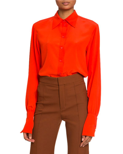 Crepe de Chine Button-Front Blouse