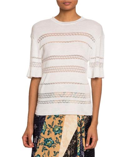 Short-Sleeve Lace-Stripe Sweater