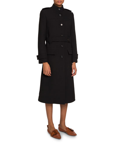 High-Neck Belted Button-Front Coat