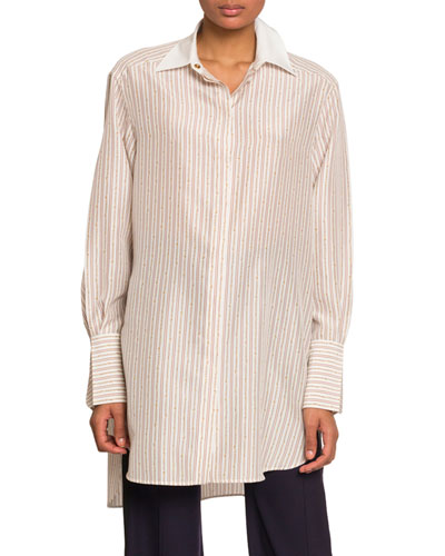 Chain-Striped Oversized Button Front Top