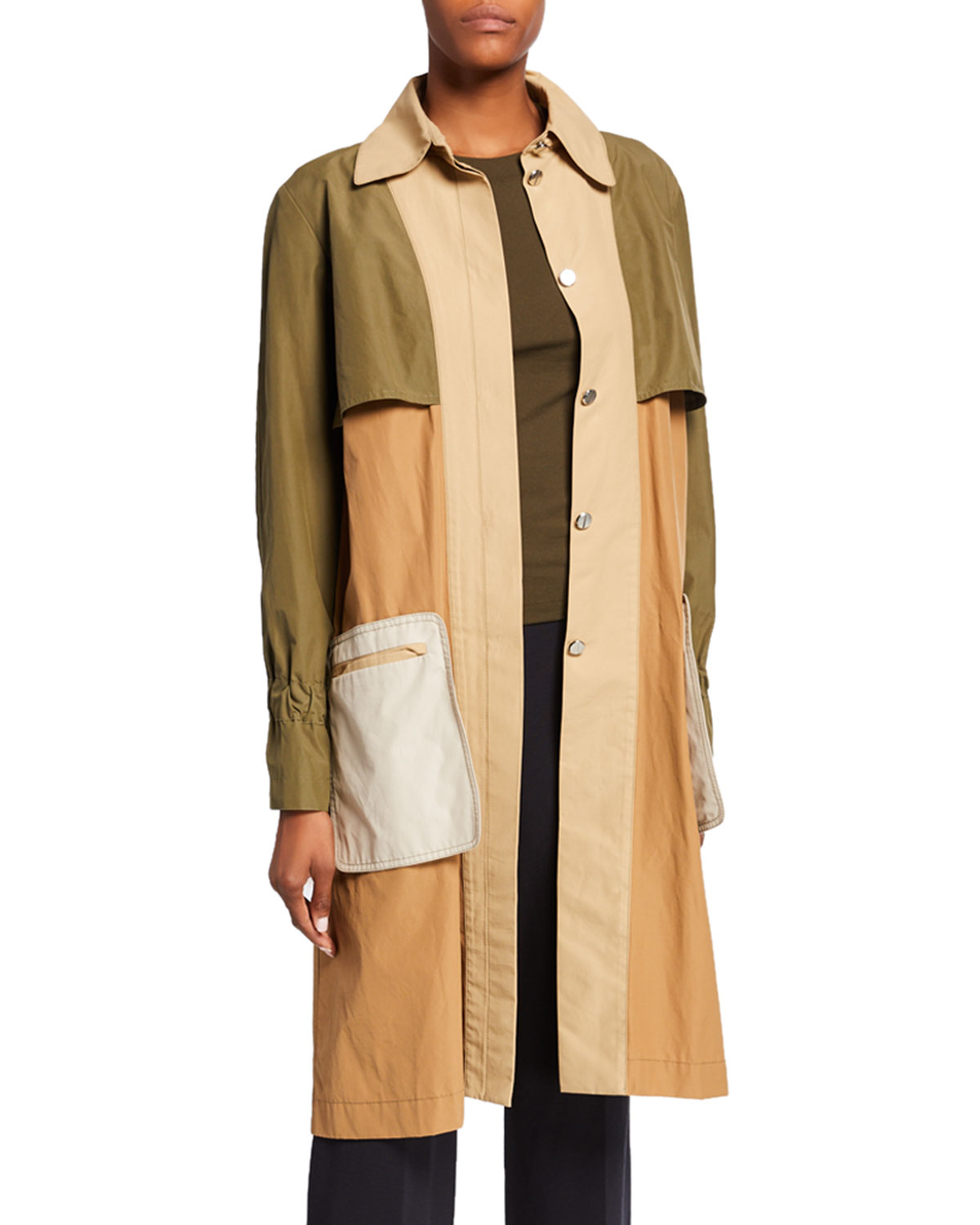 Rosetta Getty Cottons COLORBLOCKED TWILL TRENCH COAT