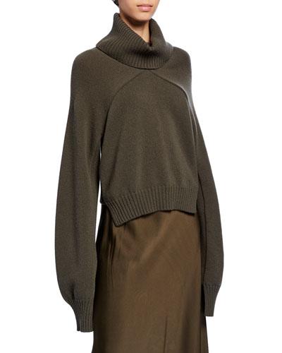 Paneled Turtleneck Crop Sweater