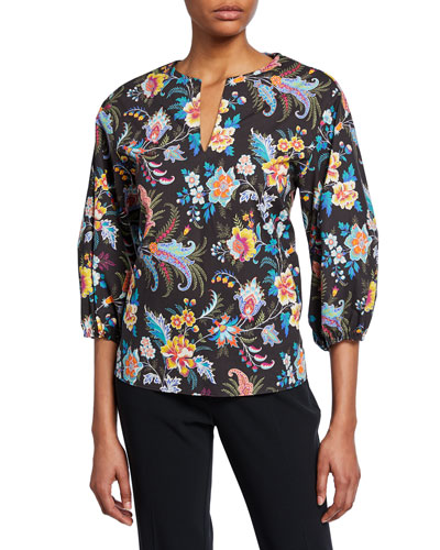 Fern Floral Print Bell-Sleeve Blouse