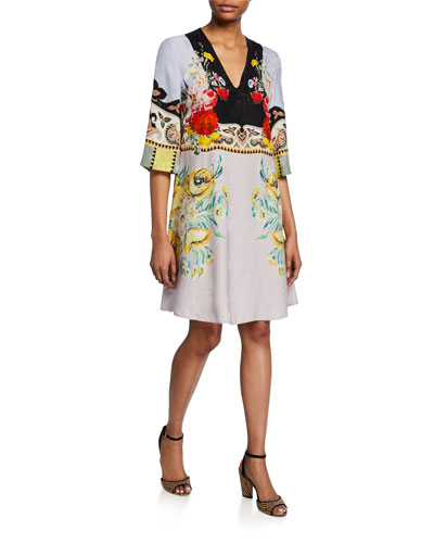 Placed Rose Floral Jersey V-Neck  Dress