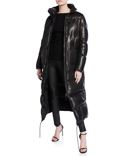 Long Quilted Napa Leather Puffer Jacket