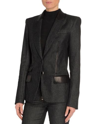 Leather-Trim Denim Blazer