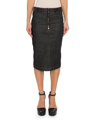 Zip-Front Denim Pencil Skirt
