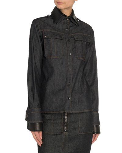 Oversized Denim Leather-Back Shirt